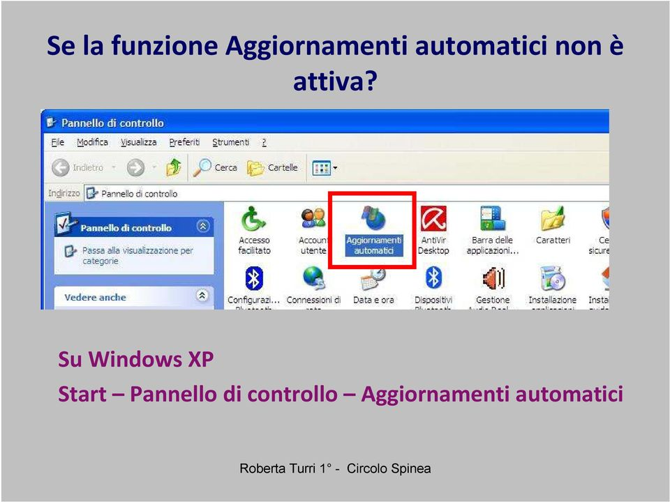 Su Windows XP Start Pannello