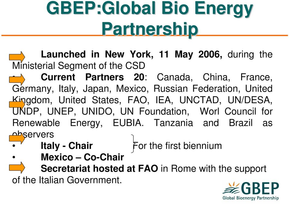 IEA, UNCTAD, UN/DESA, UNDP, UNEP, UNIDO, UN Foundation, Worl Council for Renewable Energy, EUBIA.
