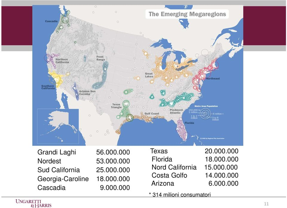 000.000 Florida 18.000.000 Nord California 15.000.000 Costa Golfo 14.