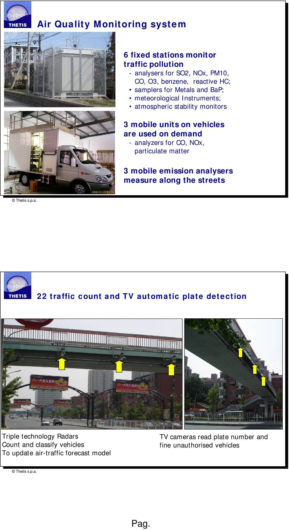 analyzers for CO, NOx, particulate matter 3 mobile emission analysers measure along the streets 22 traffic count and TV automatic plate