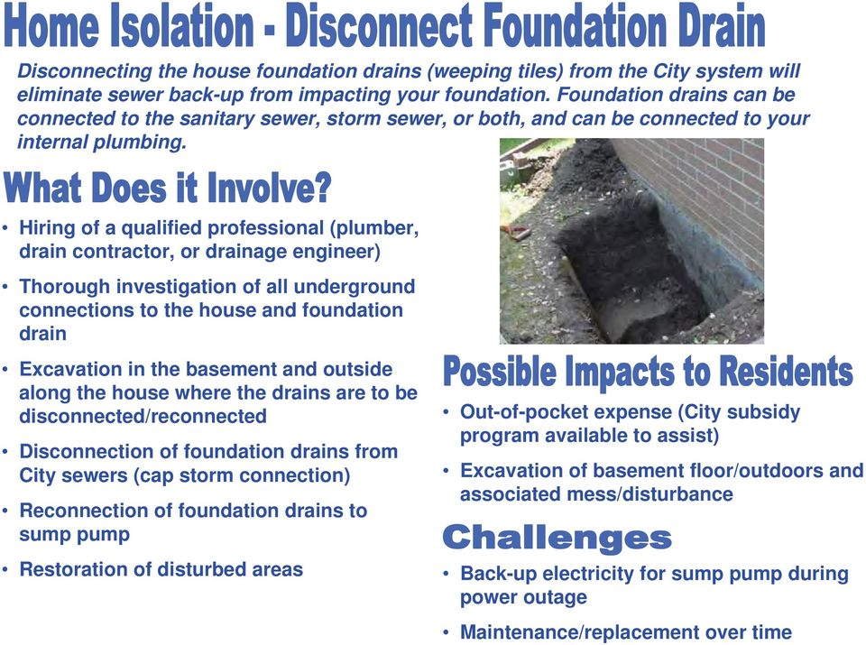 Hiring of a qualified professional (plumber, drain contractor, or drainage engineer) Thorough investigation of all underground connections to the house and foundation drain Excavation in the basement