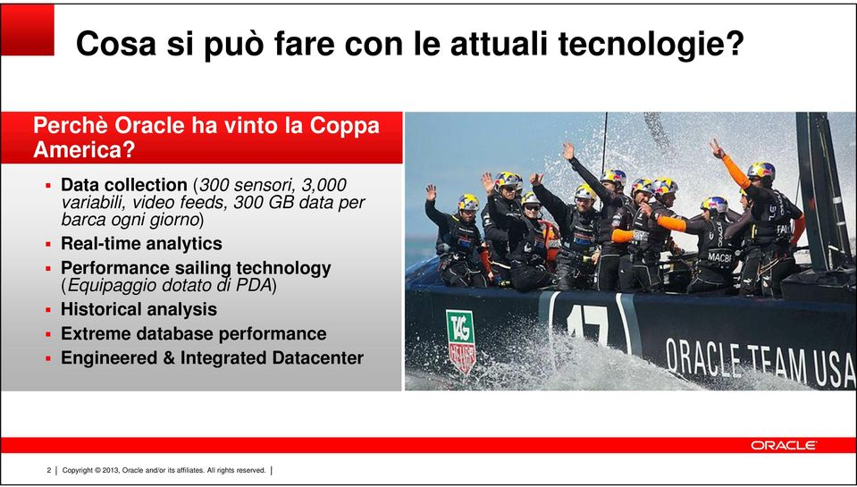 ogni giorno) Real-time analytics Performance sailing technology (Equipaggio dotato di
