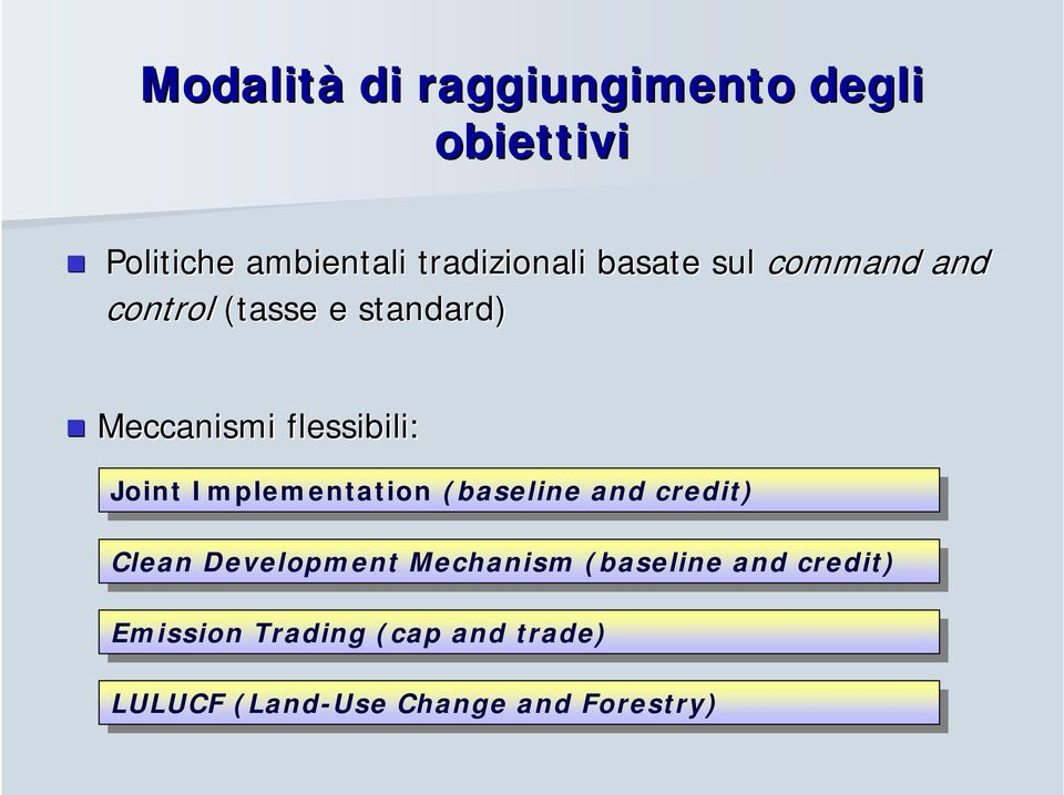JointImplementation (baseline and and credit) Clean CleanDevelopment Mechanism