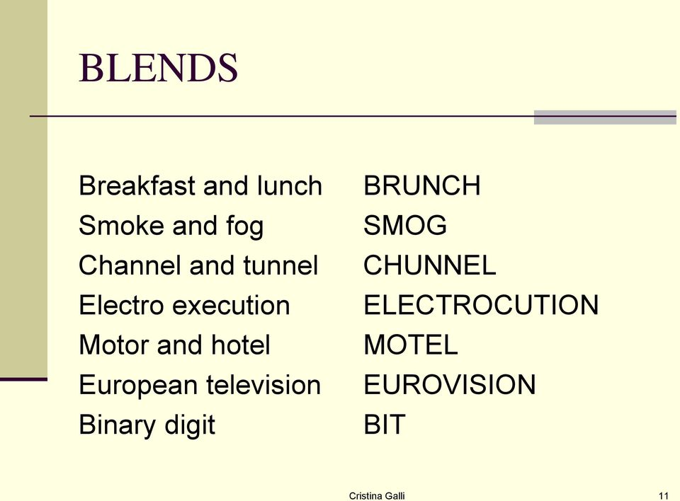 European television Binary digit BRUNCH SMOG