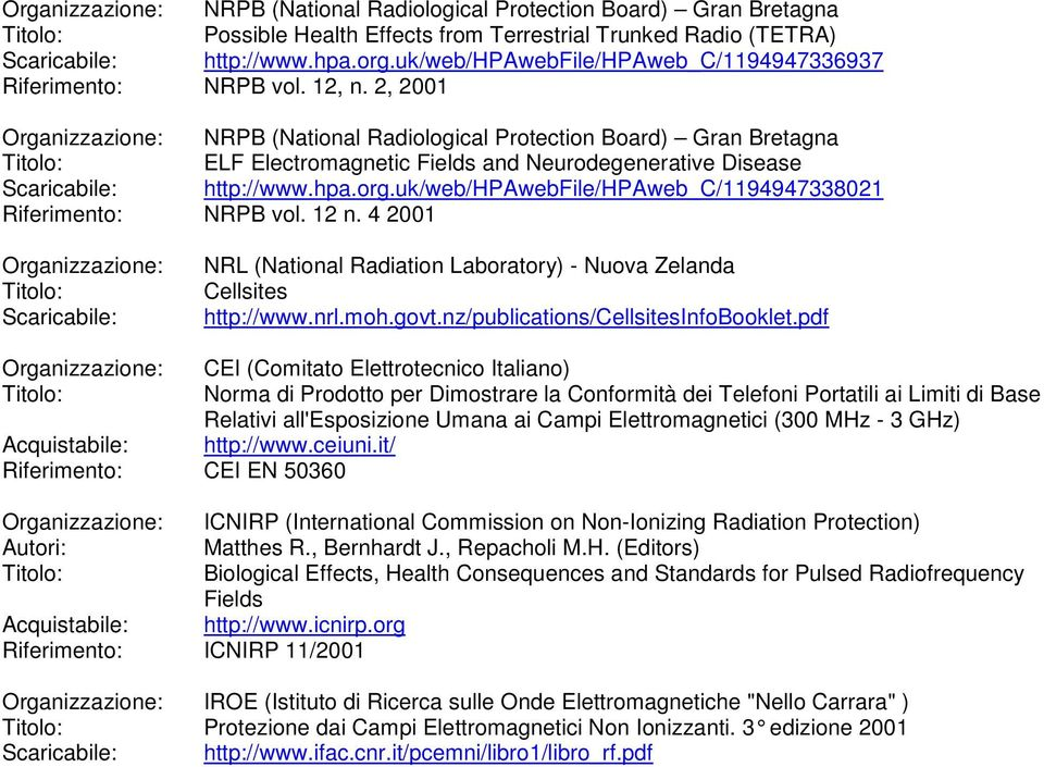 2, 2001 NRPB (National Radiological Protection Board) Gran Bretagna ELF Electromagnetic Fields and Neurodegenerative Disease http://www.hpa.org.