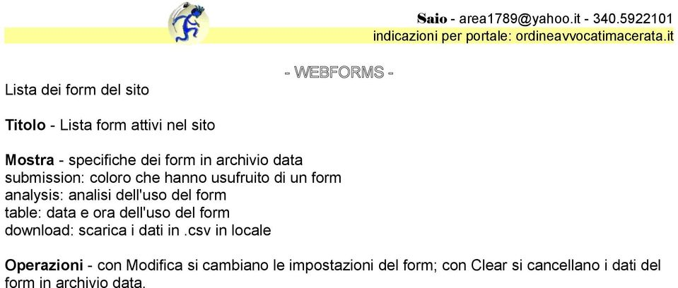 del form table: data e ora dell'uso del form download: scarica i dati in.