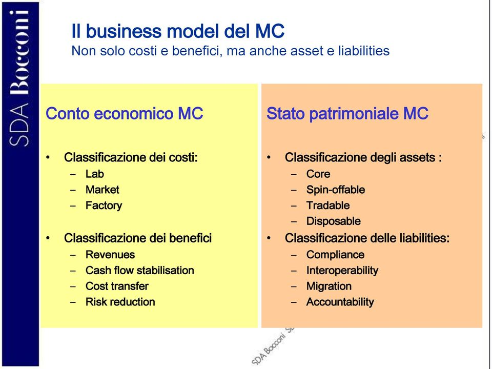 Revenues Cash flow stabilisation Cost transfer Risk reduction Classificazione degli assets : Core