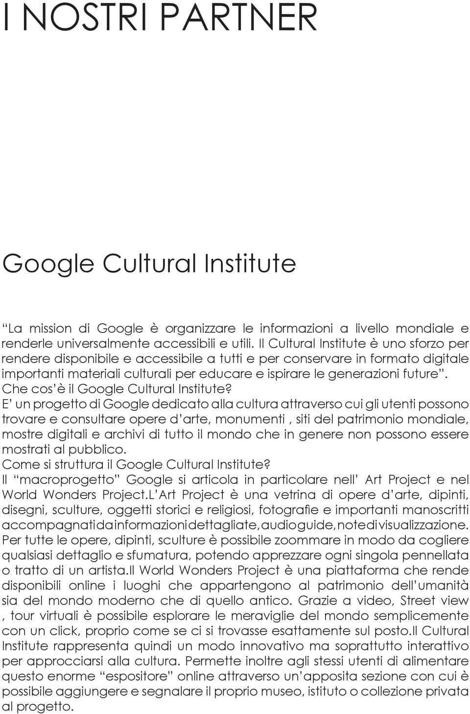 Che cos è il Google Cultural Institute?