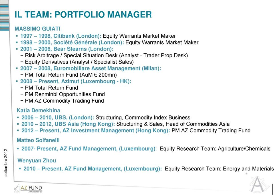 Desk) Equity Derivatives (Analyst / Specialist Sales) 2007 2008, Euromobiliare Asset Management (Milan): PM Total Return Fund (AuM 200mn) 2008 Present, Azimut (Luxembourg - HK): PM Total Return Fund