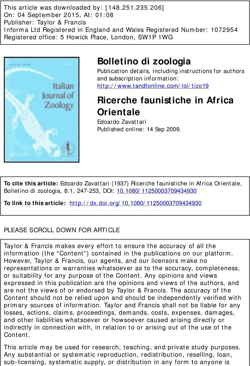 di zoologia Publication details, including instructions for authors and subscription information: http://www.tandfonline.