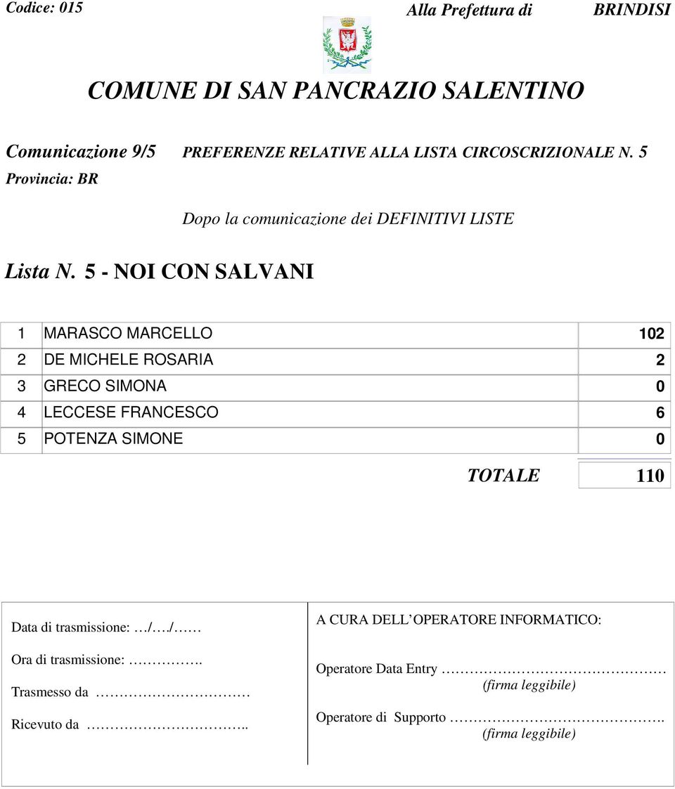 5 - NOI CON SALVANI 1 MARASCO MARCELLO 102 2 DE