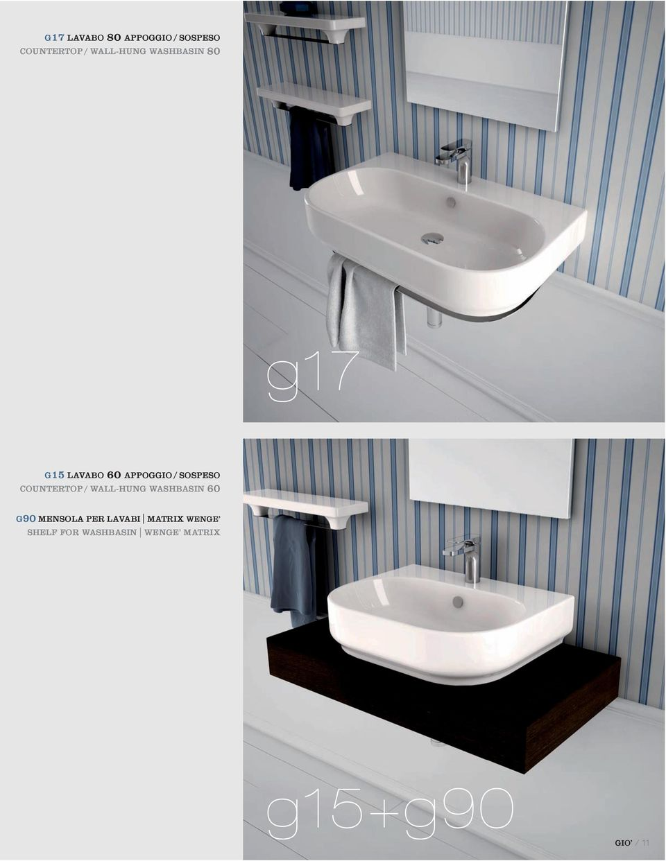 COUNTERTOP / WALL-HUNG WASHBASIN 60 G90 MENSOLA PER