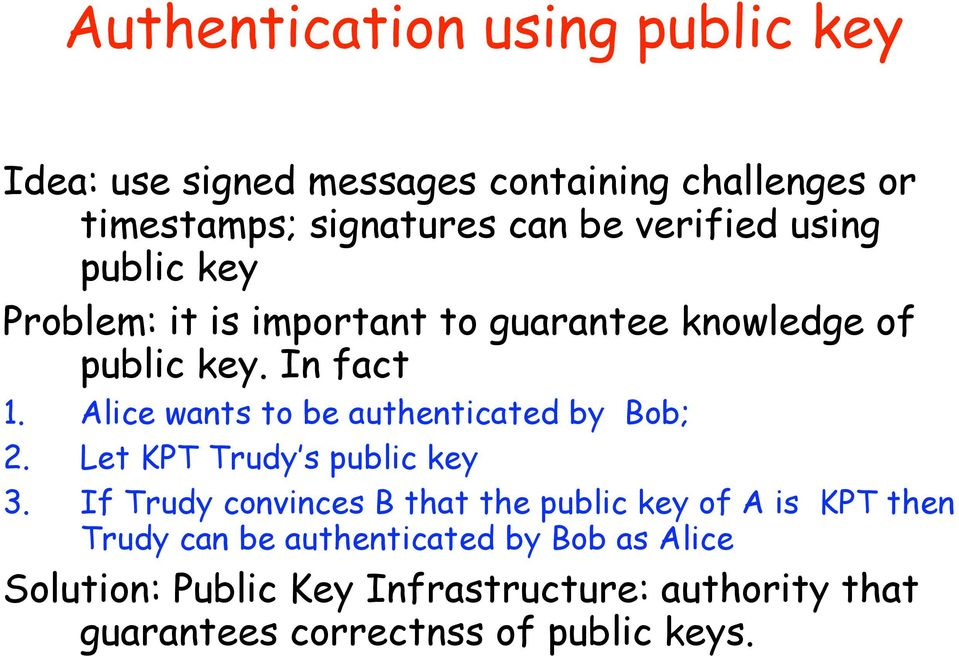 Alice wants to be authenticated by Bob; 2. Let KPT Trudy s public key 3.