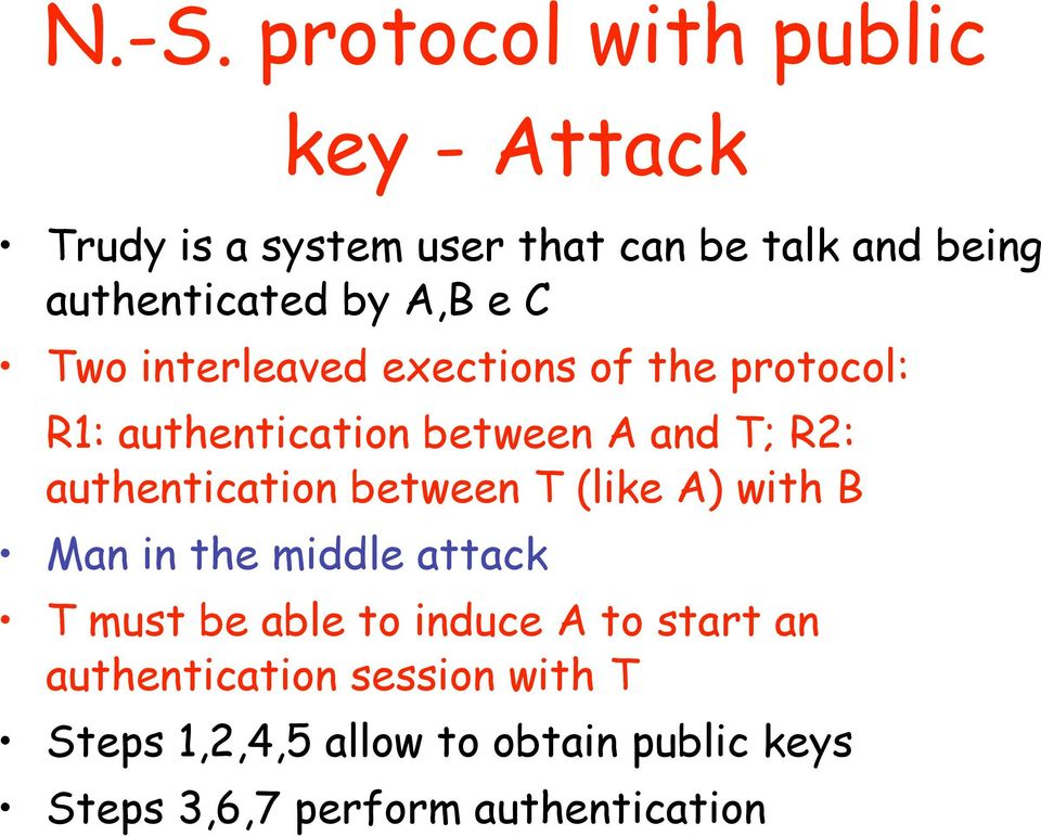 T; R2: authentication between T (like A) with B Man in the middle attack T must be able to induce A to