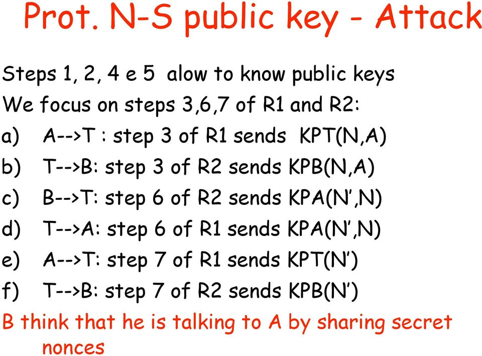 B-->T: step 6 of R2 sends KPA(N,N) d) T-->A: step 6 of R1 sends KPA(N,N) e) A-->T: step 7 of R1