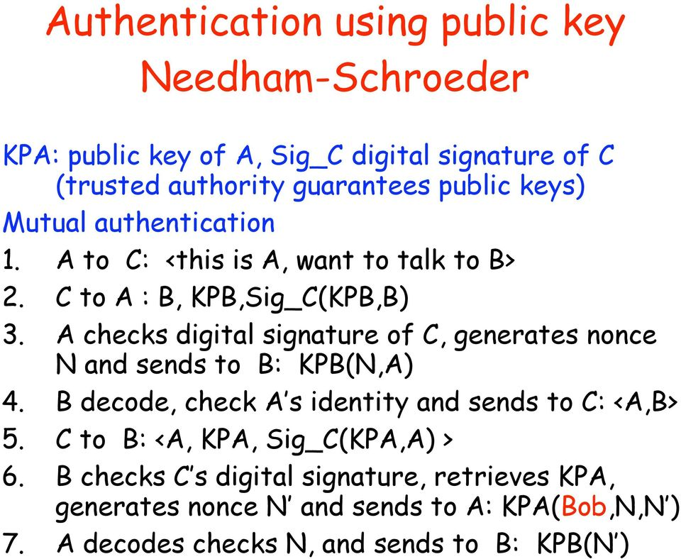 A checks digital signature of C, generates nonce N and sends to B: KPB(N,A) 4. B decode, check A s identity and sends to C: <A,B> 5.