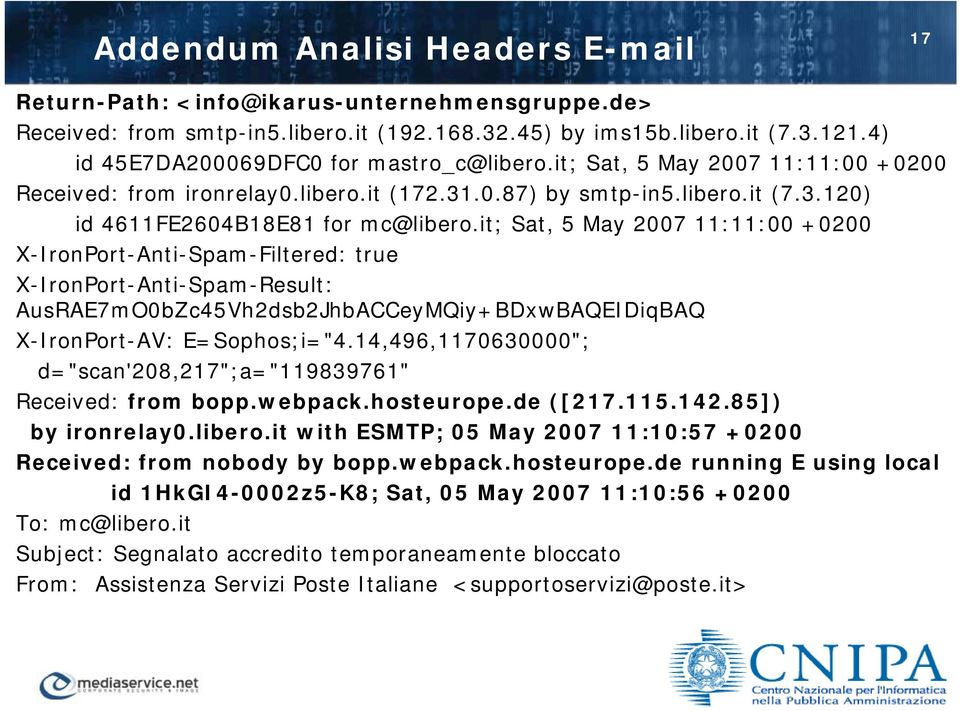 "it; Sat, 5 May 2007 11:11:00 +0200 X-IronPort-Anti-Spam-Filtered: true X-IronPort-Anti-Spam-Result: AusRAE7mO0bZc45Vh2dsb2JhbACCeyMQiy+BDxwBAQEIDiqBAQ X-IronPort-AV: E=Sophos;i=""4."