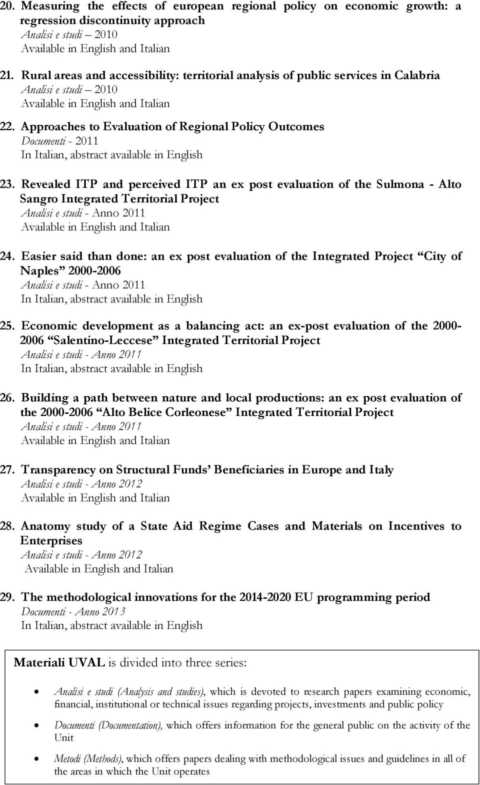 Revealed ITP and perceived ITP an ex post evaluation of the Sulmona - Alto Sangro Integrated Territorial Project 24.