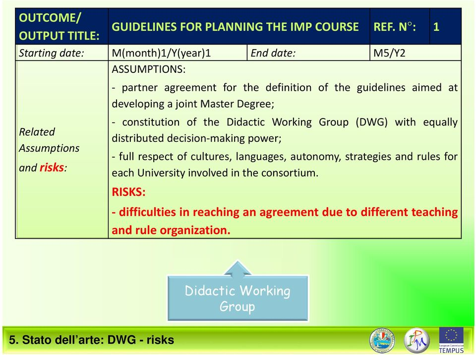 Master Degree; Related Assumptions and risks: constitution of the Didactic Working Group (DWG) with equally distributed decision making power; full respect