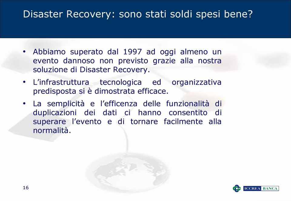 di Disaster Recovery.