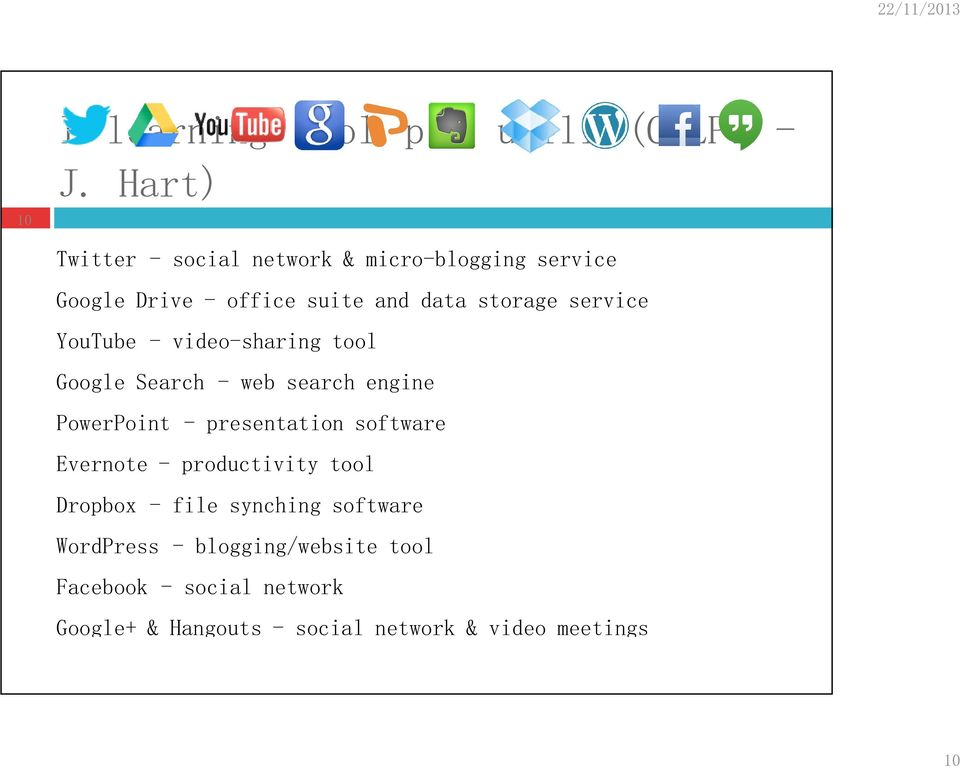 service YouTube - video-sharing tool Google Search - web search engine PowerPoint - presentation software