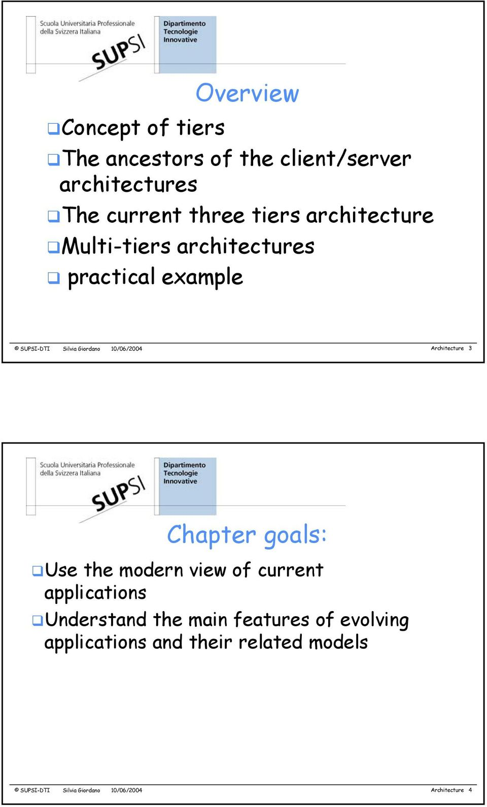 Architecture 3 Chapter goals: Use the modern view of current applications Understand the main
