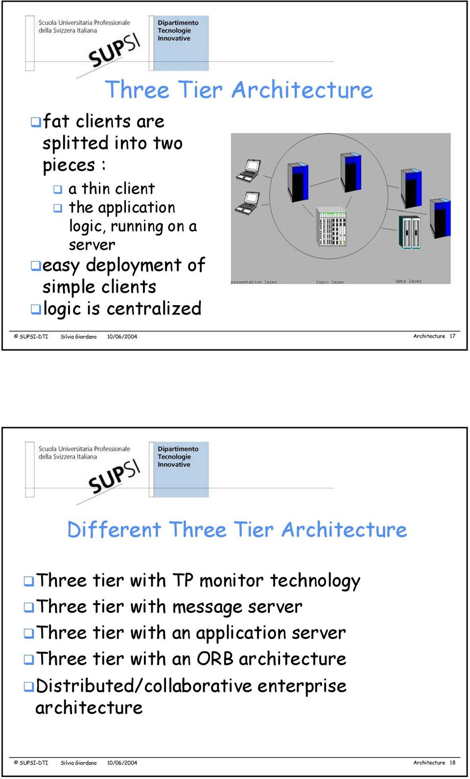 Tier Architecture Three tier with TP monitor technology Three tier with message server Three tier with an application server