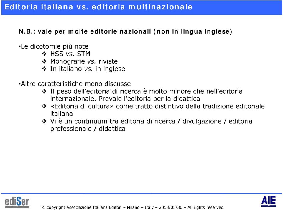 riviste In italiano vs.