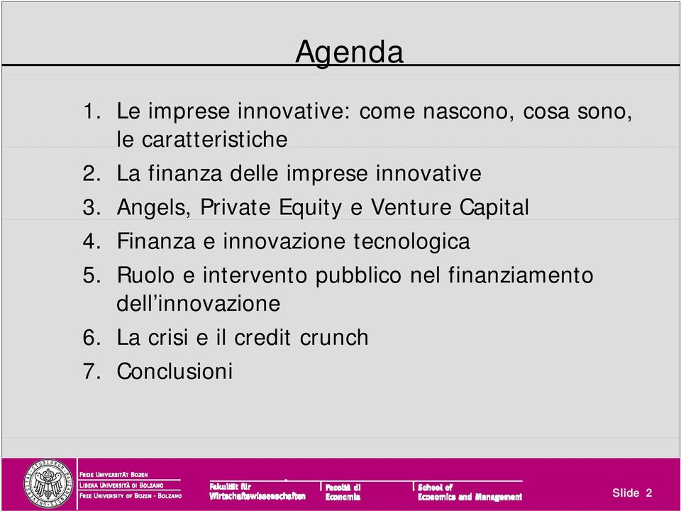 La finanza delle imprese innovative 3. Angels, Private Equity e Venture Capital 4.