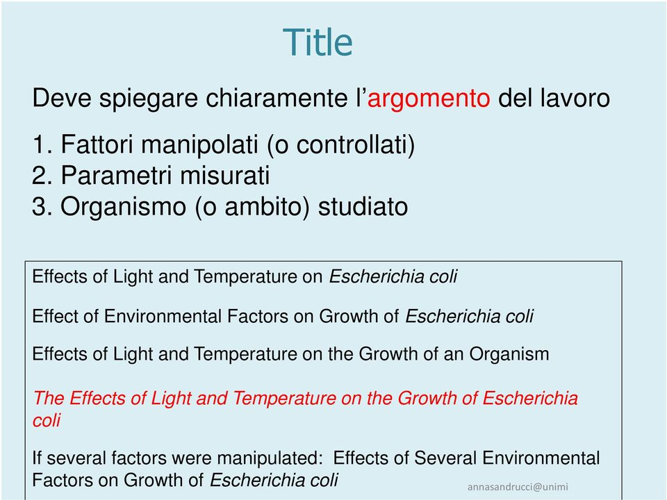 of Escherichia coli Effects of Light and Temperature on the Growth of an Organism The Effects of Light and Temperature on the
