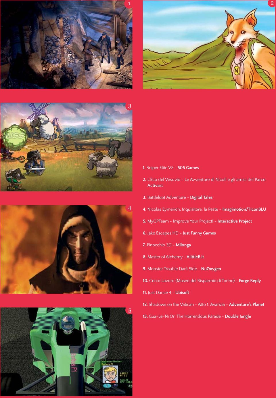 Jake Escapes HD - Just Funny Games 7. Pinocchio 3D - Milonga 8. Master of Alchemy - AlittleB.it 9. Monster Trouble Dark Side - NuOxygen 10.
