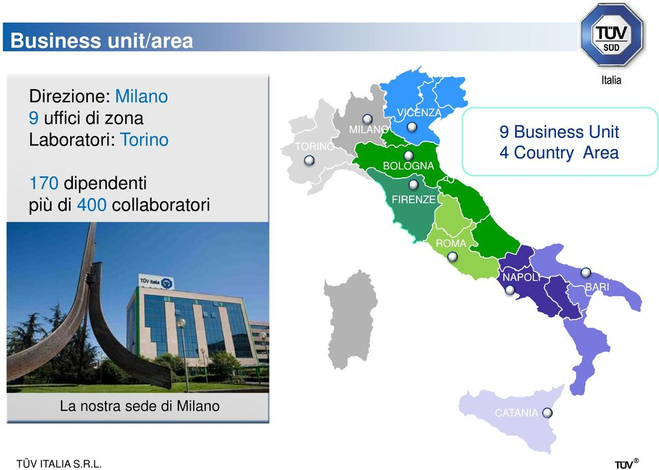 TORINO VICENZA MILANO BOLOGNA FIRENZE 9 Business Unit 4