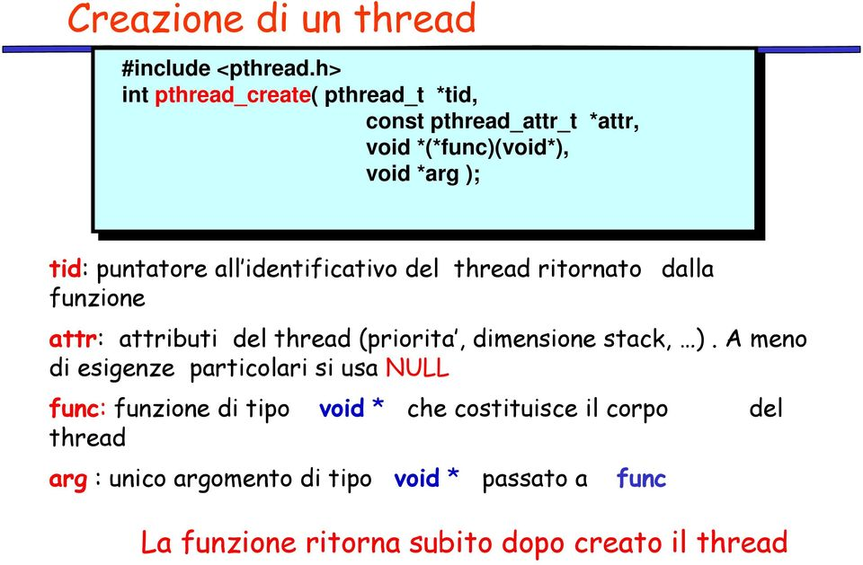 *arg *arg);); tid: puntatore all identificativo del thread ritornato dalla funzione attr: attributi del thread (priorita,
