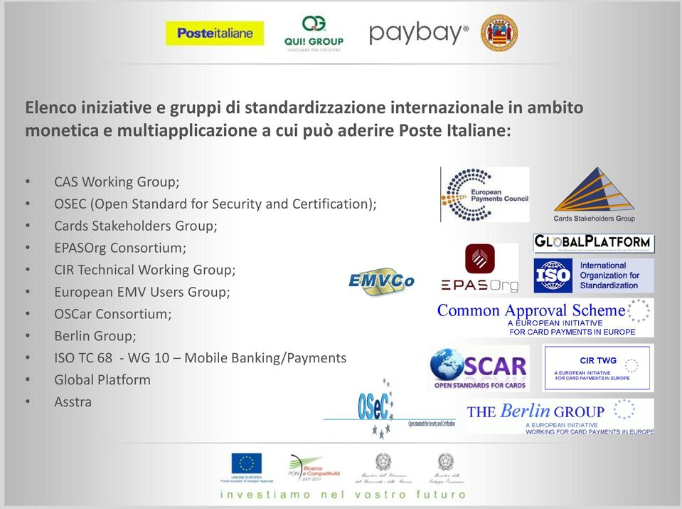 Certification); Cards Stakeholders Group; EPASOrg Consortium; CIR Technical Working Group; European