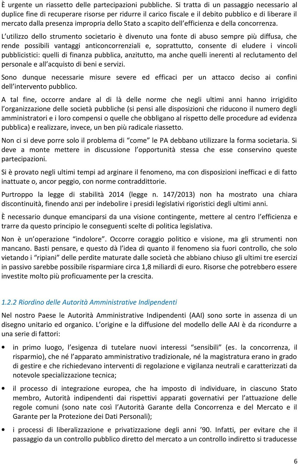 dell efficienza e della concorrenza.