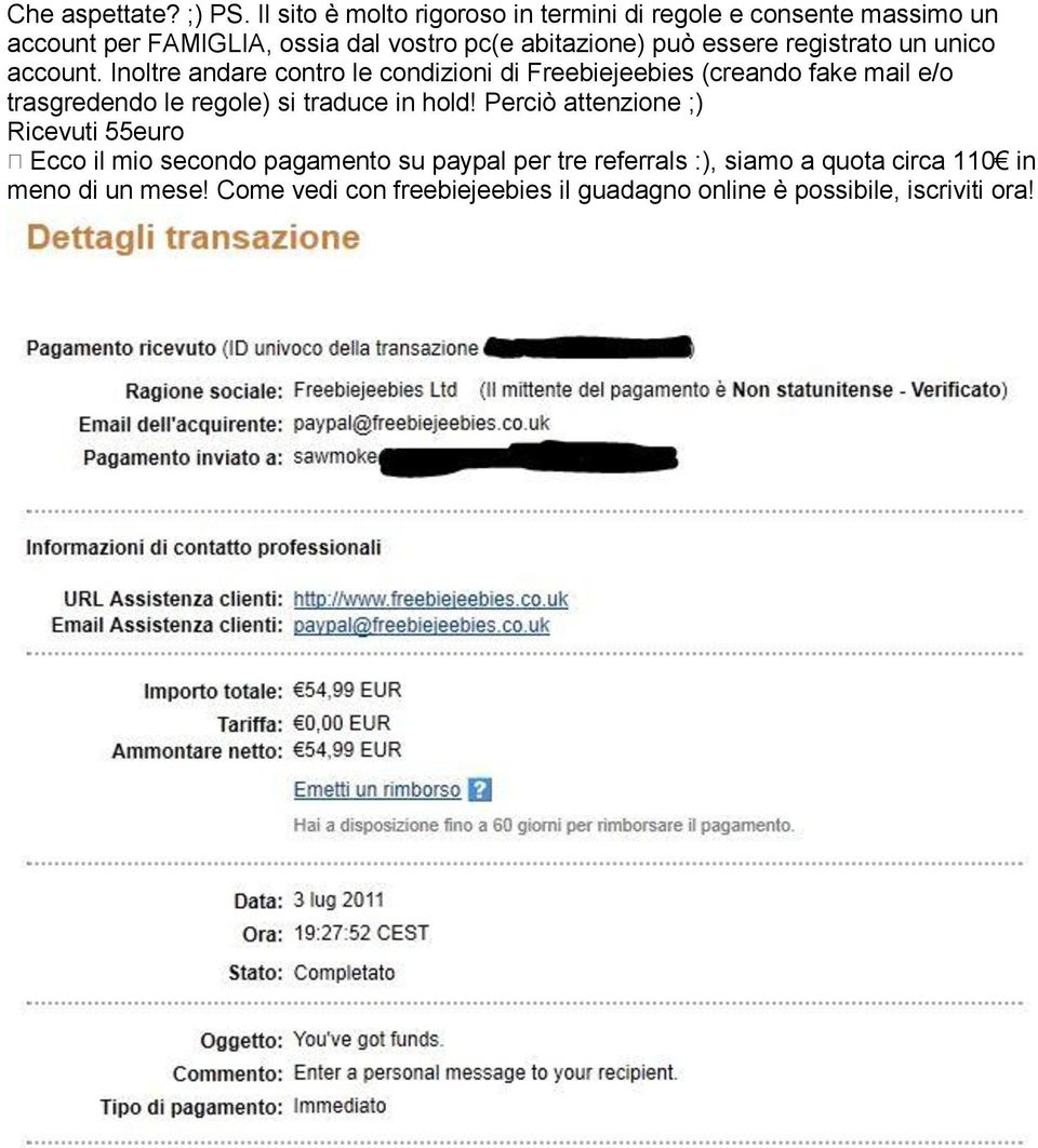 essere registrato un unico account.