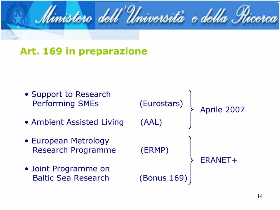 2007 European Metrology Research Programme (ERMP) Joint