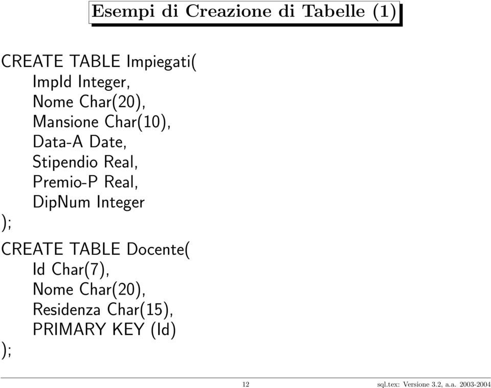 Real, DipNum Integer ); CREATE TABLE Docente( Id Char(7), Nome Char(20),