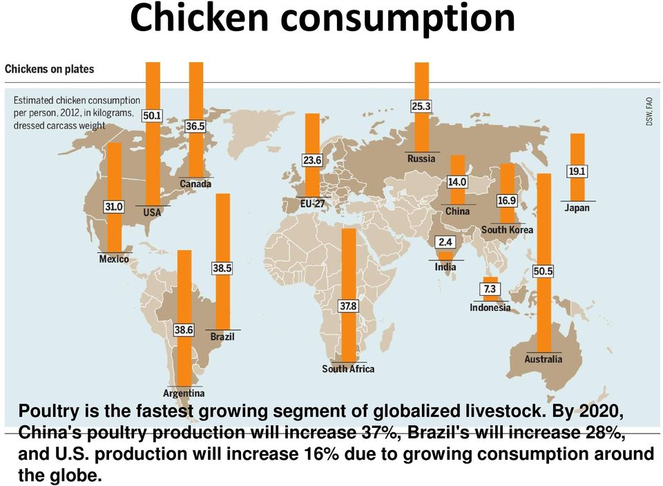 By 2020, China's poultry production will increase 37%,
