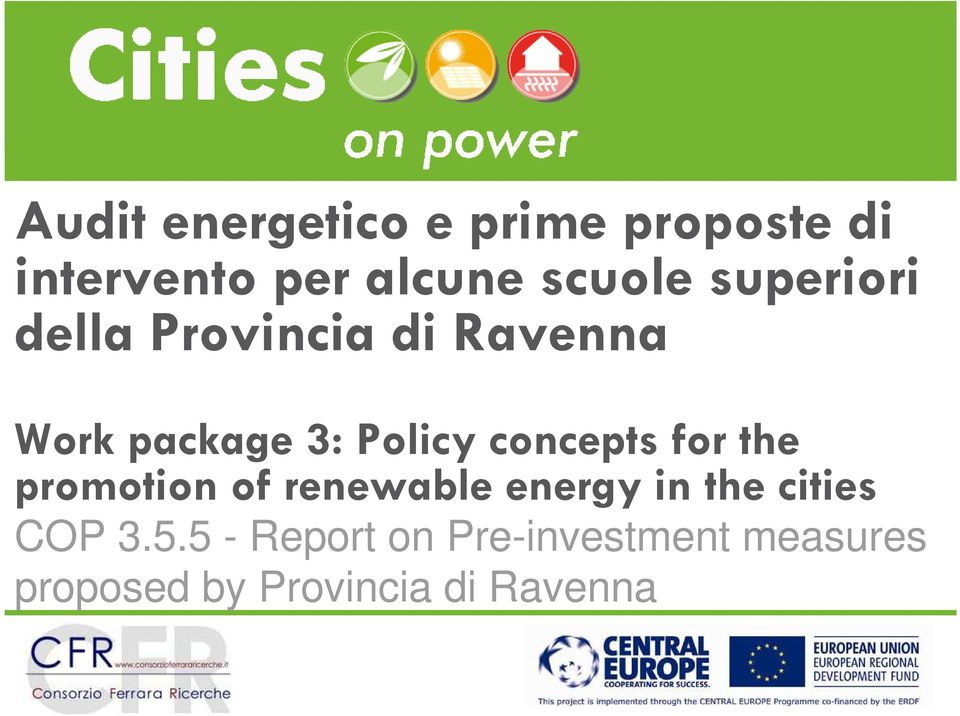 concepts for the promotion of renewable energy in the cities COP