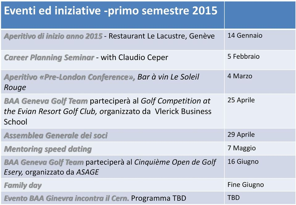 organizzato da Vlerick Business School Assemblea Generale dei soci Mentoring speed dating BAA Geneva Golf Team parteciperà al Cinquième Open de Golf