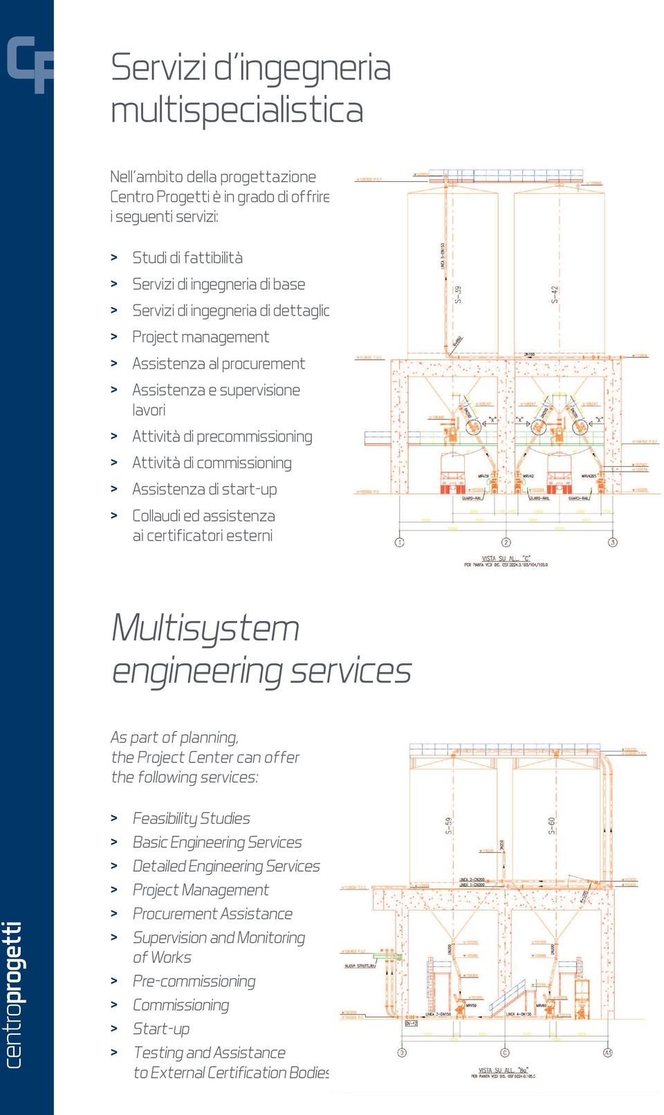 Collaudi ed assistenza ai certificatori esterni Multisystem engineering services As part of planning, the Project Center can offer the following services: > Feasibility Studies > Basic Engineering