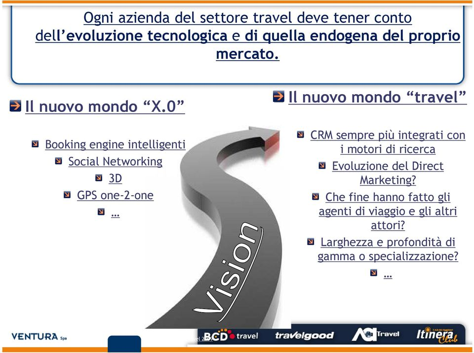 0 Booking engine intelligenti Social Networking 3D GPS one-2-one Il nuovo mondo travel CRM sempre più integrati