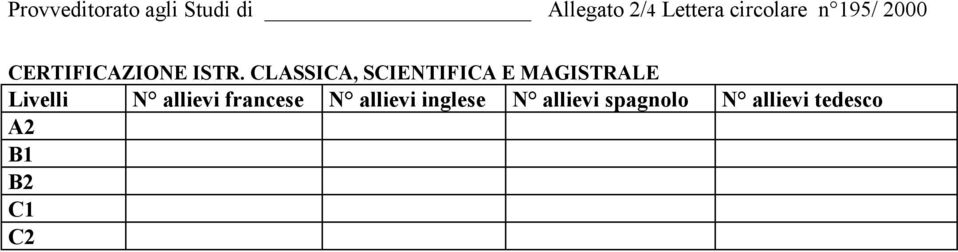 CLASSICA, SCIENTIFICA E MAGISTRALE Livelli N allievi