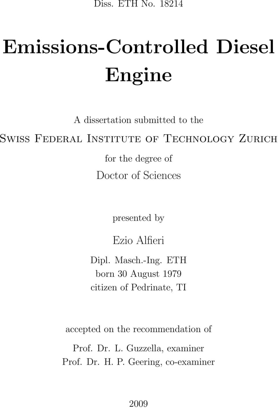 Institute of Technology Zurich for the degree of Doctor of Sciences presented by Ezio