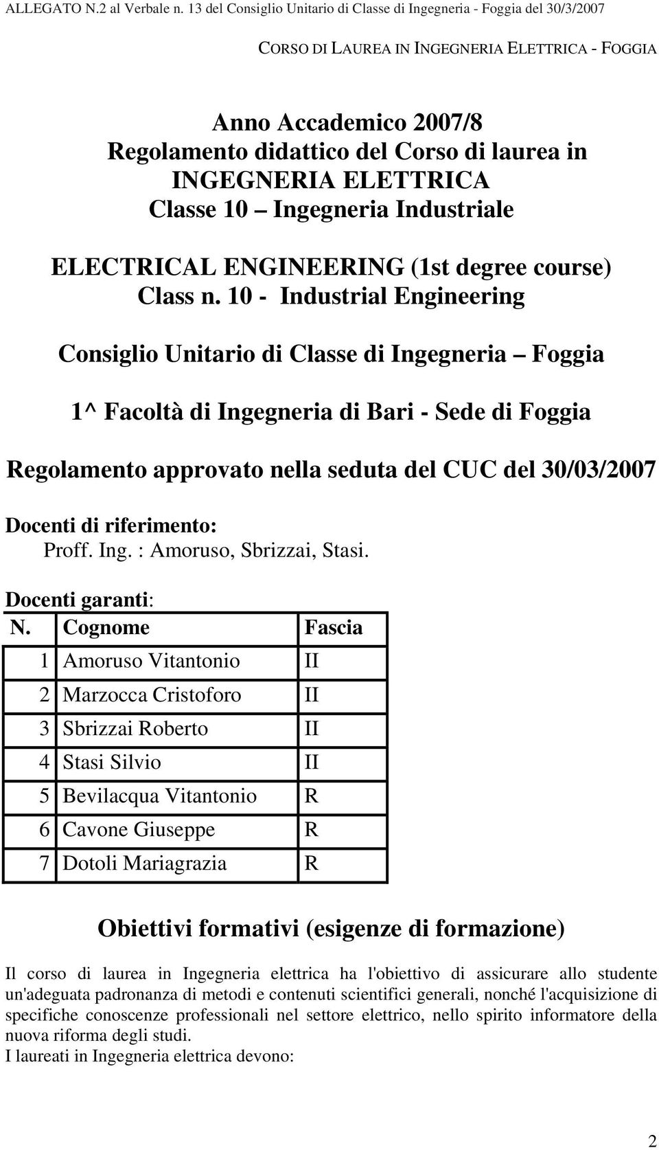 INGEGNERIA ELETTRICA Classe 10 Ingegneria Industriale ELECTRICAL ENGINEERING (1st degree course) Class n.