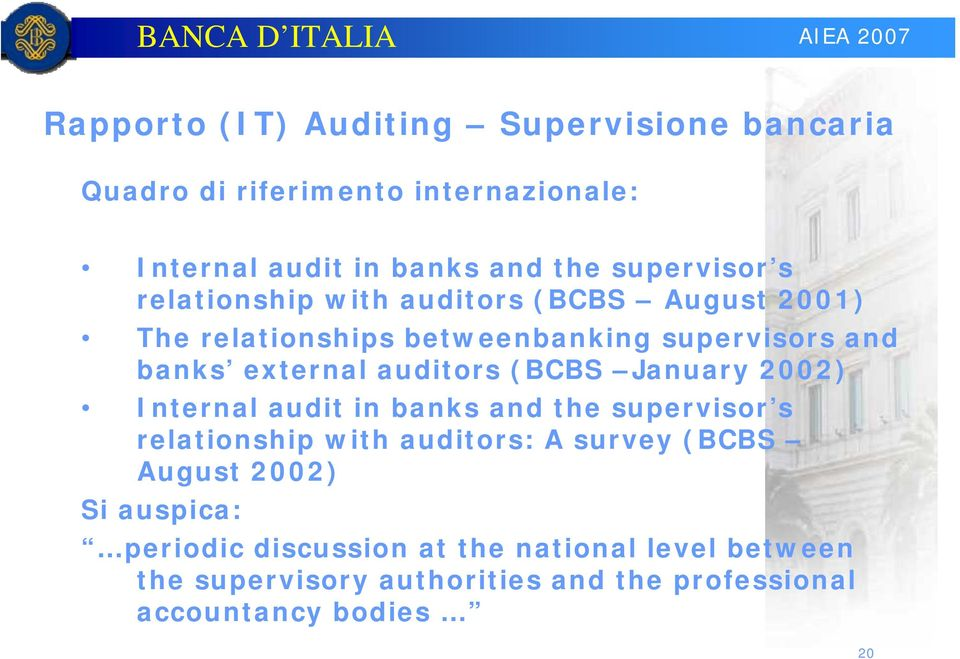 auditors (BCBS January 2002) Internal audit in banks and the supervisor s relationship with auditors: A survey (BCBS August