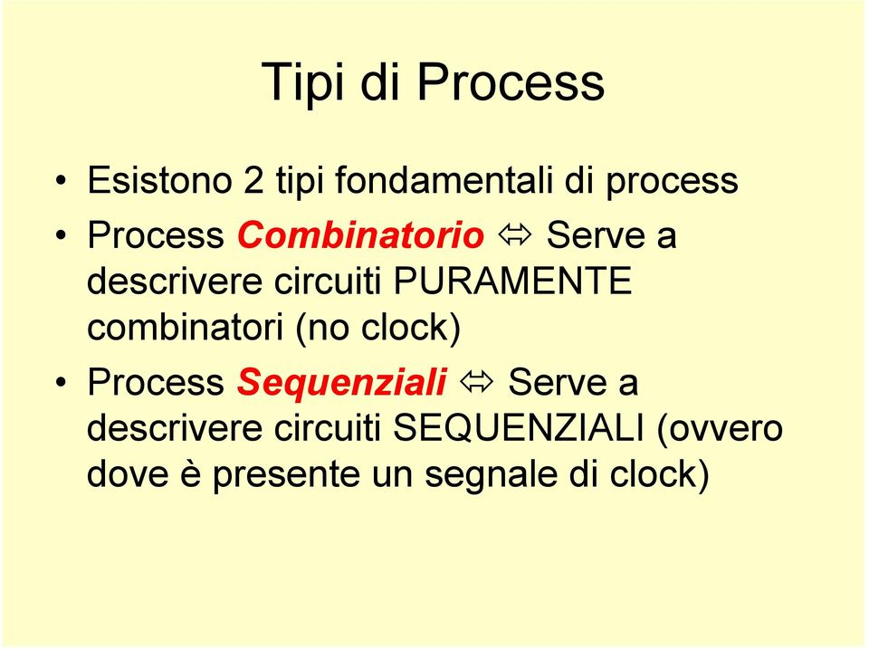 combinatori (no clock) Process Sequenziali Serve a