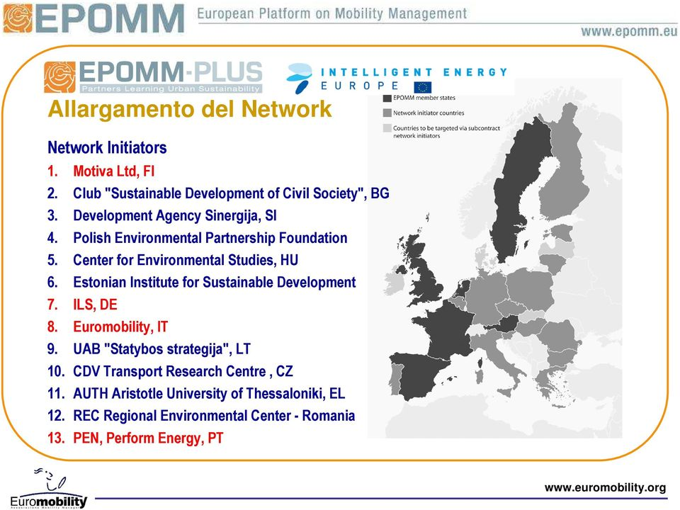 "Estonian Institute for Sustainable Development 7. ILS, DE 8. Euromobility, IT 9. UAB ""Statybos strategija"", LT 10."