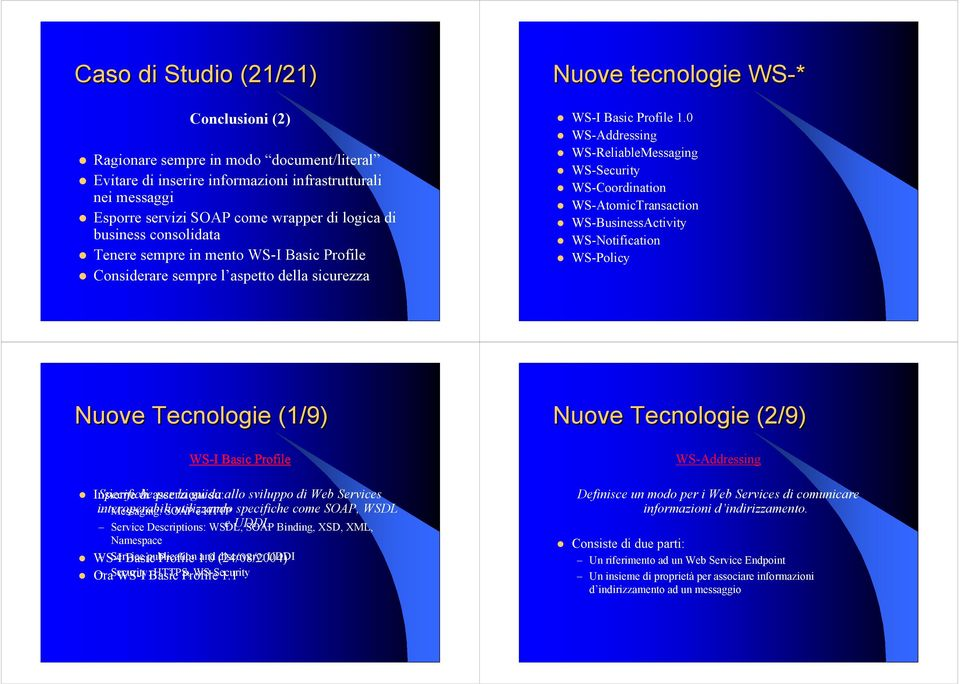 0 WS-Addressing WS-ReliableMessaging WS-Security WS-Coordination WS-AtomicTransaction WS-BusinessActivity WS-Notification WS-Policy Nuove Tecnologie (1/9) WS-I Basic Profile Insieme Specifiche di